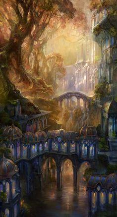 Concept Art by Snow Skadi - Fantasy - Kunst Fantasy Artwork, Fantasy Art Landscapes, Landscape Art, Fantasy Paintings, Fantasy City, Fantasy Places, Fantasy World, Fantasy Village, Fantasy Forest