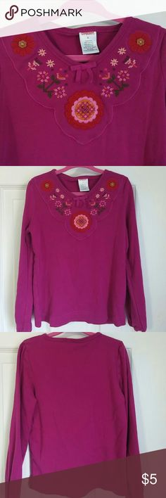 Embroidered long sleeve 100% cotton long sleeve. Used but in very good condition, no stains or flaws. Color is between red and pink. Gymboree Shirts & Tops Tees - Long Sleeve
