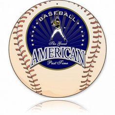 American Baseball Metal Sign