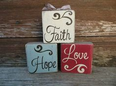 Faith Hope and Love Painted Wooden Blocks with Vinyl Lettering by DaisyBlossomCreation 2x4 Crafts, Wood Block Crafts, Scrap Wood Projects, Wooden Crafts, Crafts To Make, Craft Projects, Craft Ideas, Wooden Decor, Word Block