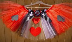 Queen of Hearts Halloween Costume Running Tutu Skirt for Runners, Girls, Youth, Baby, Toddler, Plus Size Petite Extra Large Disney Villain