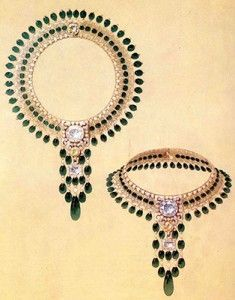 Boucheron sketch of a necklace in diamonds and emeralds, designed for the Maharajah of Patiala, 1928