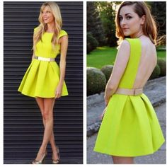 Neon Skater Dress With Belt
