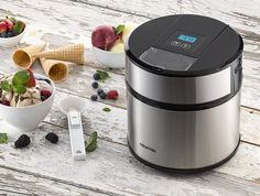Automatic Ice Cream Maker Frozen Yogurt & Sorbet Maker with Digital Timer and Easy Pour Spout