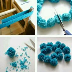 """Noticias """"the easiest way to make multiple pompoms."""", """"Ponpon Yarn pom-poms the easiest way ever diy tutorial."""", """"The Easiest Ever Yarn Pom-poms DIY Kids Crafts, Crafts For Teens, Diy And Crafts, Craft Projects, Arts And Crafts, Easy Yarn Crafts, Party Crafts, Kids Diy, Tutorial Diy"""