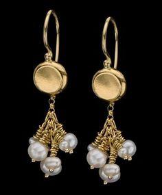 Delicate Cluster of Pearls Hanging from 22k Solid Gold Top Earrings, June Birthstone earrings, Chandelier Earrings, Bridal Earrings