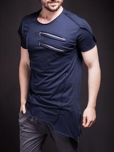 SAW Men Asymmetrical Zippers T-shirt - Navy Blue