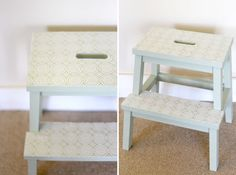 Ikea Bekvam stool makeover with plastic lace