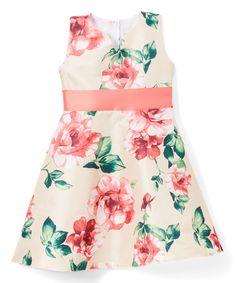 Tan & Pink Floral A-Line Dress - Infant, Toddler & Girls