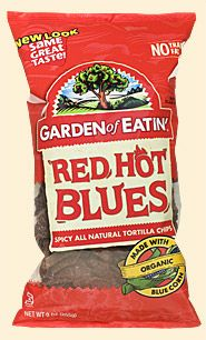 the best chip EVER.  Red hot blues are spicy.  and all-natural.  and gluten free.  made with organic blue corn.
