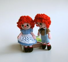 mini crochet raggedy ann and andy