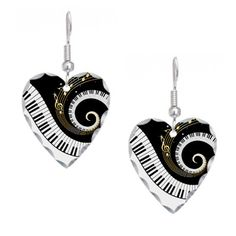Mixed Musical Notes (black go Earring Heart Charm