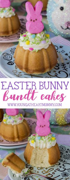 Get excited for springtime with these adorable Easter Bunny Bundt Cakes topped with vanilla buttercream and sugar-coated marshmallow PEEPS®!