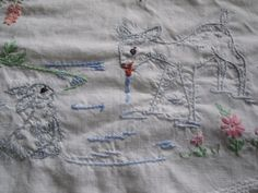 Vintage Pair Of Pillowcases All White & Embroidery Deer Bunny Bambi? Thumper?
