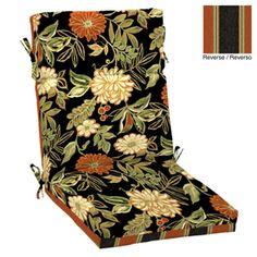 garden treasures l x w floral black patio chair cushion black patio chair cushions