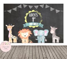 Safari Backdrop- Safari Birthday Backdrop, Baby Shower Backdrop, Sweet Table Backdrop, Buffet Table Backdrop, Chalkboard, Printable by PeonyBlushDesigns on Etsy https://www.etsy.com/listing/266977810/safari-backdrop-safari-birthday-backdrop