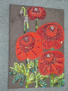 Mosaic by kat gottke ,, made in Australia ,,, RED POPPIES
