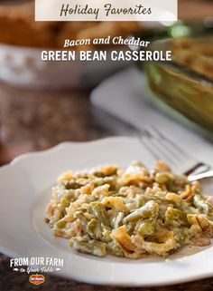 Bacon and Cheddar Green Bean Casserole – This Thanksgiving, treat your friends and family to a classic side with a savory twist. With bacon, cheddar cheese, and mushrooms, your guests will be heading back for seconds.