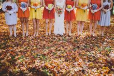 Incorporate the colors of the fallen leaves into your bridesmaid dresses! Wedding Mood Board, Wedding Pins, Wedding Blog, Dream Wedding, Wedding Day, Wedding Dreams, Fall Wedding Bridesmaids, Bridesmaid Flowers, Bridesmaid Dresses