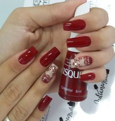 23 Fotos e Modelos de Unhas decoradas pela top manicure Juliana Nail Polish Designs, Nail Art Designs, Red Matte Nails, November Nails, Hot Nails, Stylish Nails, Nail Art Hacks, Beautiful Nail Art, Manicure And Pedicure