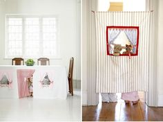 These are awesome, tablecloth playhouse and doorway puppet theatre by Cool Spaces for Kids