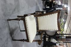The white covering on this chair will coordinate well with the dining table and china cabinet/buffet. Media Furniture, Furniture Board, Solid Wood Furniture, Large Furniture, Quality Furniture, Furniture Making, Cool Furniture, Furniture Ideas, American Gothic