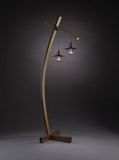 """Twice Aglow"" wood floor lamp created by #artist Brian Hubel. Vintage style…"