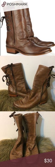 """SALE!! Georgina Goodman """"Billy""""""""  Mid Calf Boots - Good condition - Usage of sole in shown in pictures - Still have lots of life in them - VERY comfortable shoes - Vegan, soft leather - Durable soles - Size 38 (7.5)  100% AUTHENTIC ✨  Purchased from Fred Segal in Los Angeles for $400!! Georgina Goodman Shoes Lace Up Boots"""