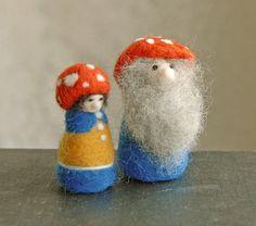 Mushroom Cap Gnomes Waldorf Gnome Needle Felted by gingerlittle, $32.00
