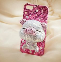 Bling+pink+3D++pig+iphone+4+case+cover+iphone+by+handmadeblingcase,+$38.00