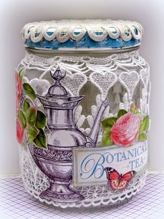 Solange Marques: Botanical Tea- altered jar #graphic45 #tresorsdeluxe
