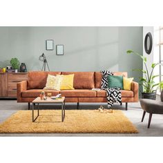 36 Top Tips of Cognac Leather Couch - inspiredeccor Living Room Sets, Home Living Room, Living Room Decor, Sofa Cognac, Tan Leather Sofas, Living Room Inspiration, Interior Design Living Room, Home Decor, Yellow Couch
