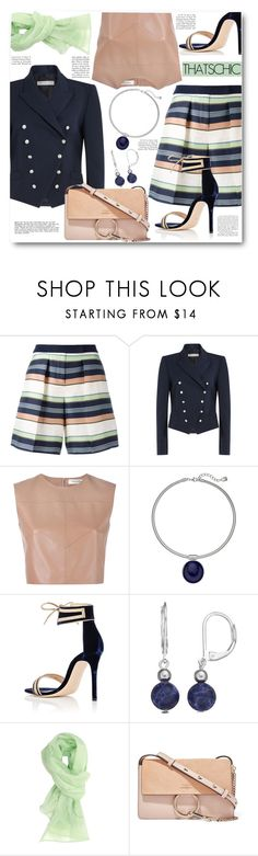 """""""Striped Shorts & Blazer"""" by brendariley-1 ❤ liked on Polyvore featuring Jil Sander Navy, Philosophy di Lorenzo Serafini, Valentino, Chaps, Gianvito Rossi, Ermanno Scervino and Chloé"""