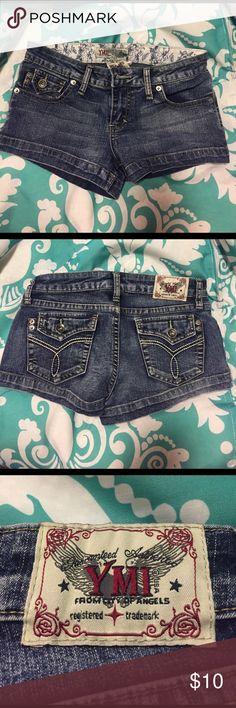 YMI Jean Shorts Short blue jean shorts, back pockets have buttons. YMI Shorts Jean Shorts