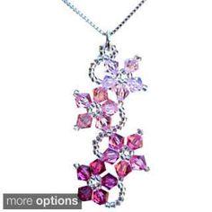 Sterling Silver Pink Crystal Flower Necklace