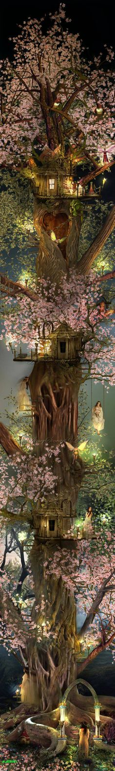 New fairy tree house illustration fantasy art Ideas Samhain, Fantasy World, Fantasy Art, Fairy Tree, Fairy Land, Fairy Dust, Fairy Houses, Tree Houses, Urban Art