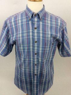 865fb4017b0 Eddie Bauer Mens Shirt Superior Madras Blue Plaid Short Sleeve Button Front  BB25  EddieBauer Blue