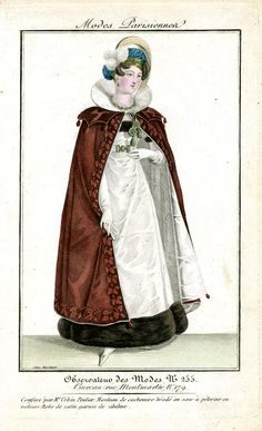 Brown cloak. Observateur des modes Regency Dress, Regency Era, Plate Drawing, Georgian Era, Bobe, Clothing And Textile, Neoclassical, Marie Antoinette