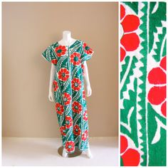 Vintage Ethnic hand embroidered huipil maxi dress. by atlasfalcon, $285.00