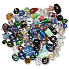 Bead mix, lampworked glass, multicolored, 6mm-27x21mm mixed shape and pattern. Sold per pkg of 250 grams. - Fire Mountain Gems and Beads