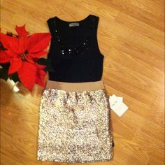 "HOST PICK!!NWT Lily White sequin skirt New with tags sequin skirt from Nordstrom. 45% arcrylic, 20% polyester and 35% polymethane. Skirt has a nice stretch to it. Perfect for New Years or holiday party! Approx 15"" size Small. Lily White Skirts Mini"