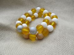 White faceted shell saffron yellow sea glass and by littlecrowshop, $17.00