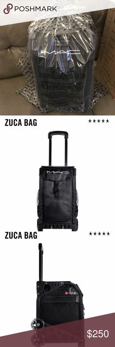 MAC Zuca Bag Brand new in packaging. Never used.  A luggage case specially branded for M·A·C by ZÜCA features ZÜCA Sports' traditional elements: super-strong aluminium frame; stair-friendly, oversized shock-absorbing polyurethane wheels; hard-wearing washable nylon fabric; telescoping handle; removable, washable protective covers; and built-in seat. Includes four clear, zippered stackable pouches to help keep products organized and separated. M·A·C logos are featured in white  Price is firm…
