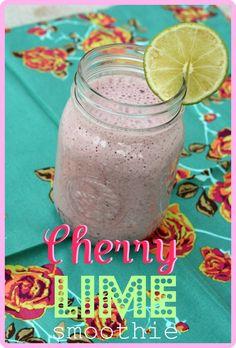 1 c. almond milk, 1/2 frozen banana, 3/4 c. frozen cherries, juice and zest of half a lime ( 1 serving)