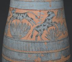Tear Drop Shaped Vase with Painted Designs of Maidens, Cows, Swamp Plants, etc. Egypt, ca. 1390-1353 B.C., XVIII Dynasty, New Kingdom