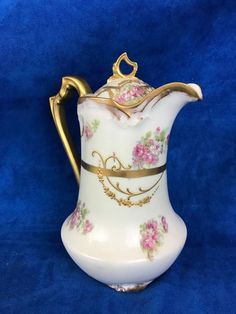 ANTIQUE LIMOGES FRANCE WATER PITCHER WITH TOP HAND PAINTED RAISED GOLD ROSES #LIMOGES