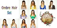 Always Sims Tumblr - New update! Ombre Hair Pack All meshes included... Hair Pack, Hair Setting, Ombre Color, Sims 2, Ombre Hair, Tumblr, Couture, Guys, Female
