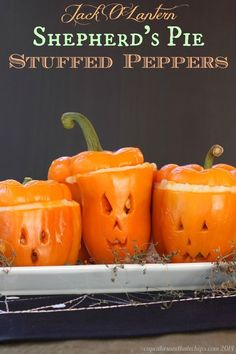 Jack O'Lantern Shepherd's Pie Stuffed Peppers recipe. An easy beef mixture with cheesy mashed potatoes for Halloween dinner!  Perfect for a party or gathering this Fall.  (gluten free too!)