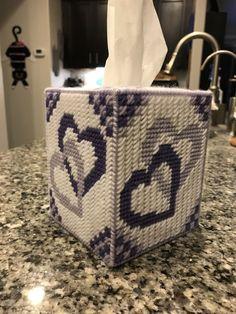 Valentine plastic canvas tissue box in lavenders