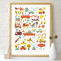 My toddler would love this transportation themed print.